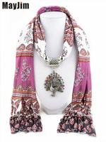 New Charms Winter Printing Scarf Necklaces Tassel Bead Vintage Peacock Pendants Scarf Necklaces Women Scarf Necklaces