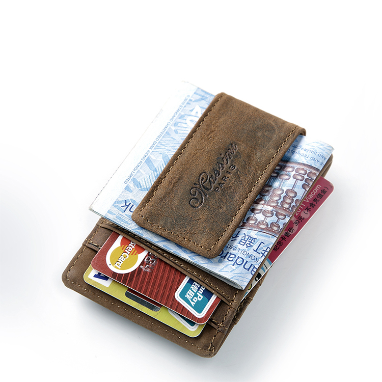teemzone Free shipping Men <font><b>Genuine</b></font> Leather Wallet Business Casual Credit Card ID Holder Strong Magnet Money <font><b>Clip</b></font> 2 Colors K308