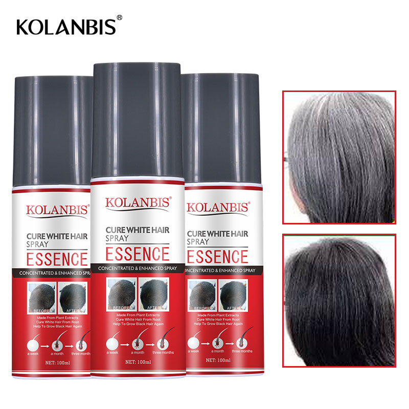 3pcs Hair Oil Permanent Black Hair Serum Organic Herbal Medicine Essence Spray For White Hair Treatment White Removal Anti Gray 2