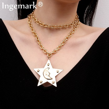 8a759335ec0e Ingemark Punk Miami grandes estrellas colgante gargantilla collar  personalidad media luna pesado grueso collar de cadena larga de las mujeres  cuello de