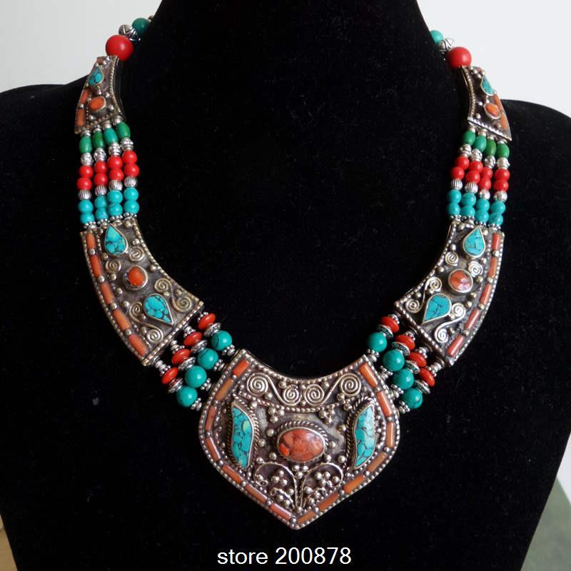 Well-liked TNL151 Genuine Tibetan Jewelry Nepal Copper inlaid Stone Coral Big  XI21