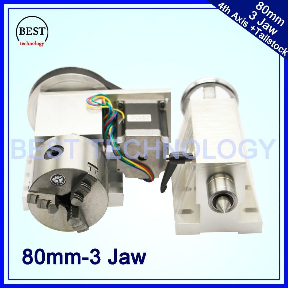 80mm CNC 4th Assi + Contropunta CNC divisore/Asse di Rotazione/UN asse per Mini router di CNC /incisore macchina per incisione del legno!