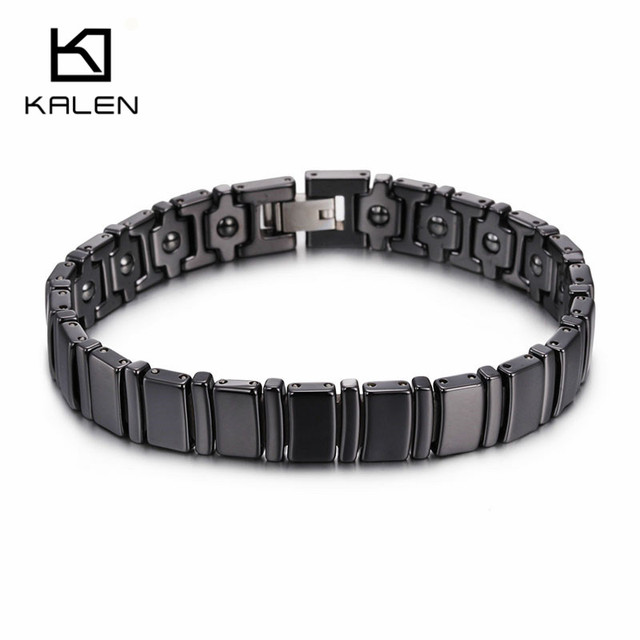 Kalen Men High Polished Ceramics & Tungsten Steel Black Bracelet Health Care Hologram Energy Bracelet Fashion Link Chain Bangles