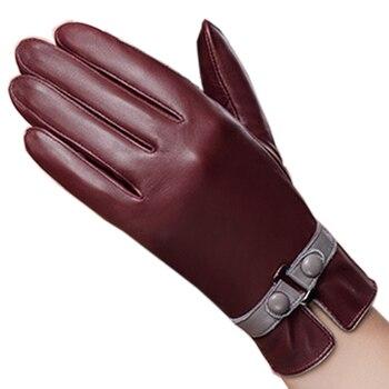 Velvet Genuine Leather Gloves Fashion Trend Women Sheepskin Glove Thermal Winter Plus Leather Driving Gloves NW745-5 genuine leather gloves men winter warm plus velvet thick sheepskin fashion new driving leather gloves gr 206 5