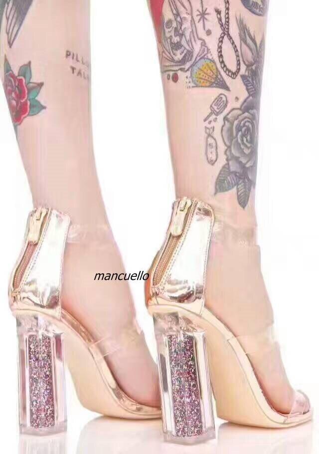 addd52b133f Aliexpress.com   Buy New Arrival Transparent PVC Block Heel Sandals Women  Fancy Open Toe Glittering Chunky Heel Dress Sandals Princess Glass Shoes  from ...