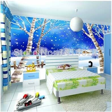 Sitting Bedding Room Kids Tv Setting Wall Wallpaper Papel De Parede Non Woven Mural Frozen Forest In Wallpapers From Home
