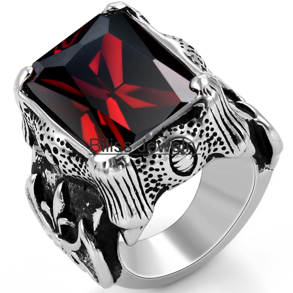 Vintage Style Stainless Steel Wedding Band Red Cz Dragon Claw Biker Mens Engagement Ring, Black Silver Red Color