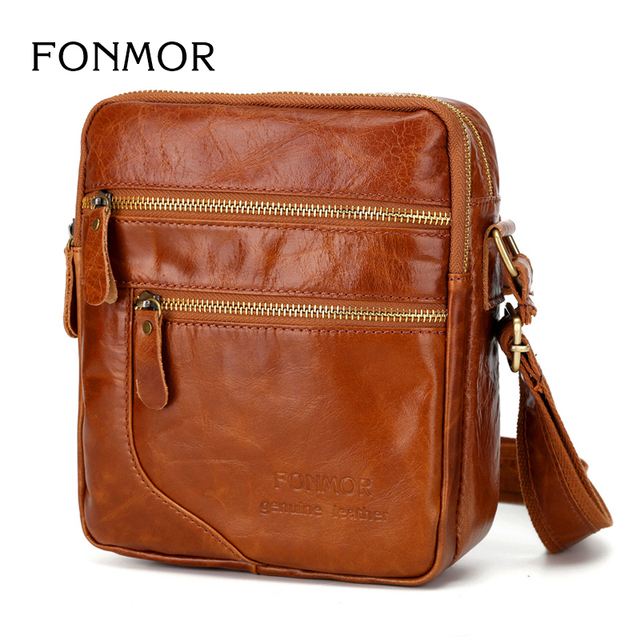 New Oil Wax Leather Bag Men Crossbody Bags Vintage Shoulder Cowhide Double Zipper Travel Small