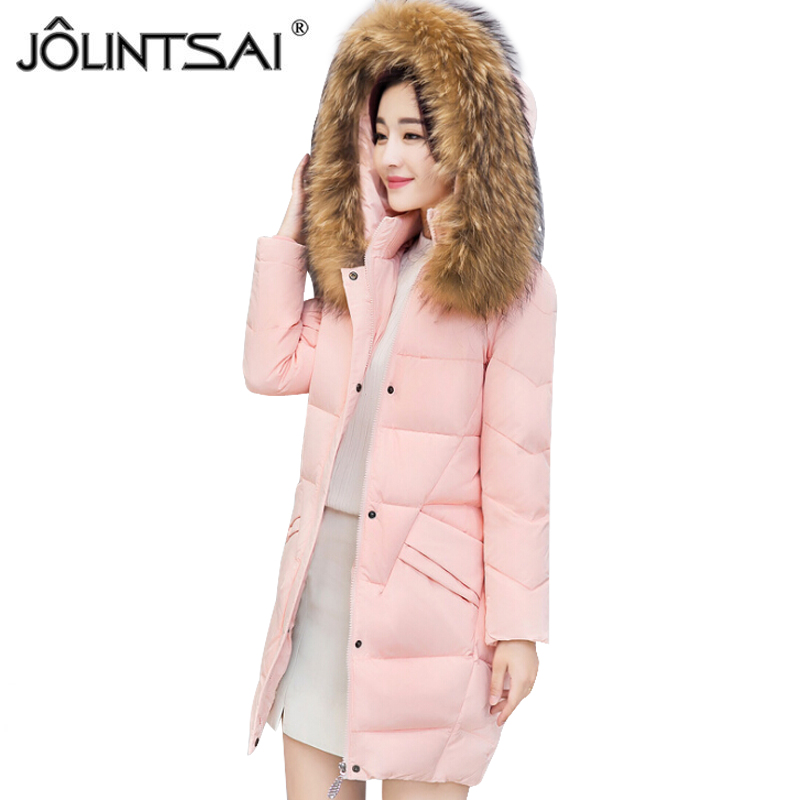 JOLINTSAI Winter Women Coat Jacket Warm Woman Parkas Winter Overcoat With Faux Fur Collar 2017 New Female Clothing jolintsai winter coat jacket women warm fur hooded woman parkas winter overcoat casual long cotton wadded lady coats