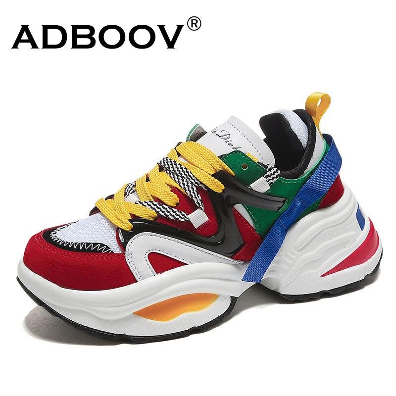 ADBOOV de moda Zapatillas de deporte de mujer suela gruesa zapatos de plataforma de las señoras Web celebridad grueso papá zapatillas Chaussures Femme pero tu Damskie