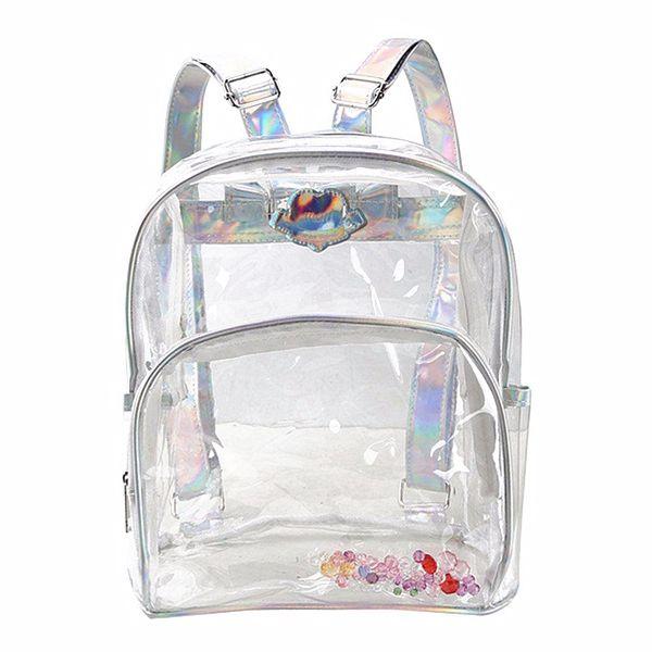 5) Fashion Girl Mini Clear Transparent Backpack Satchel Laser Shoulder Bag Rucksack