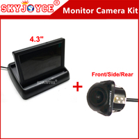 Samochód Z Przodu/Z Boku/Tylna kamera full hd LCD monitor camera kit system rewers backup parking foteli kamera CCD + monitor TFT samochodu