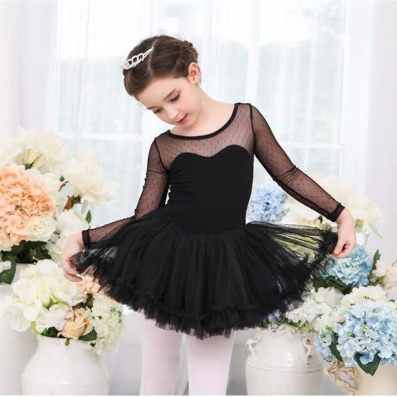 Celmia Girls Polka Dots Long Sleeves Ballet Dancewear 2018 New Kids Girls Mesh Ballet Dance Gymnastics Dancewears Leotard Dress