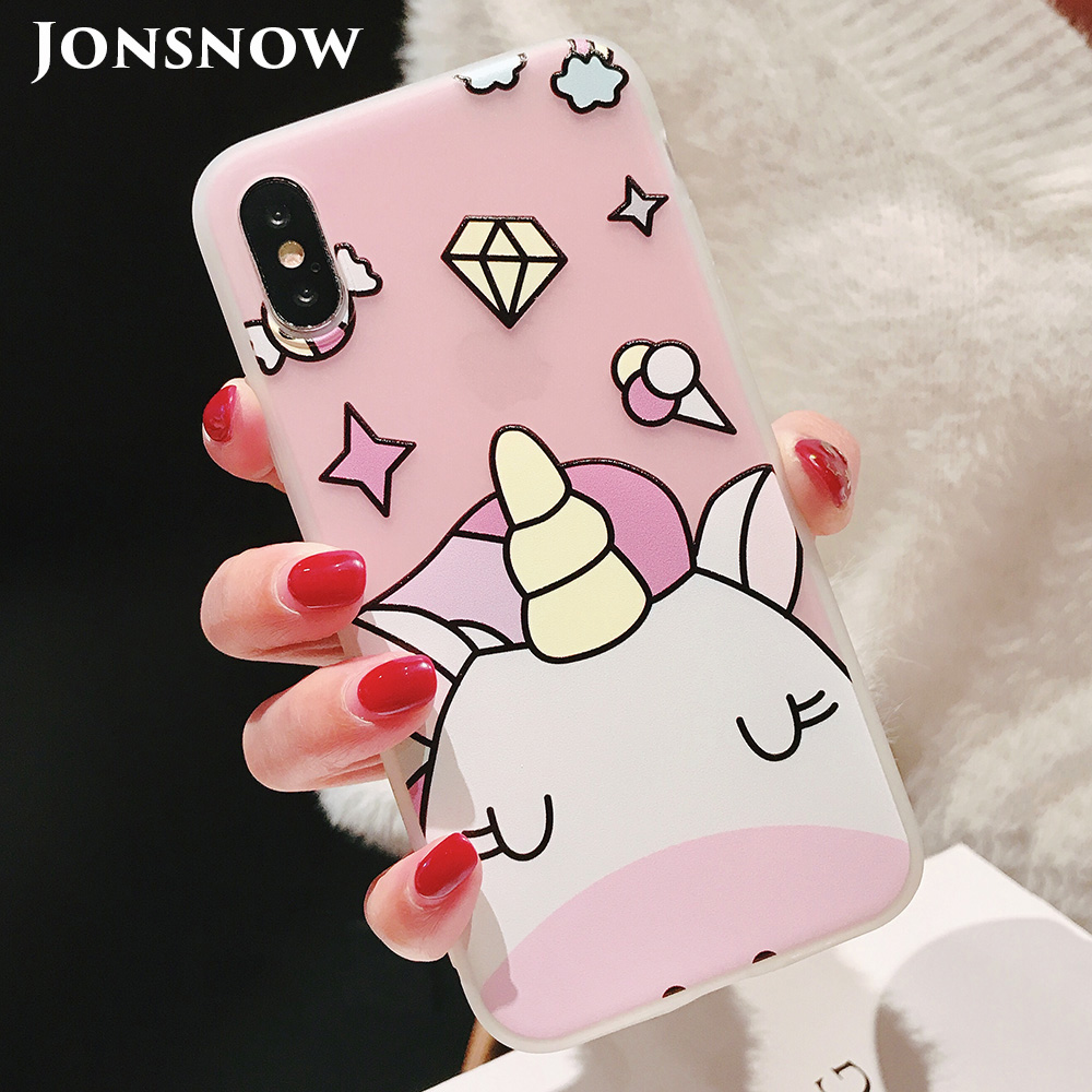 KIPX1104_1_JONSNOW Phone Case For iPhone XS Max XR XS 6 6S 7 8 Plus Funny Cute Emboss Unicorn Pattern Soft Silicone Cover Cases Capa Fundas