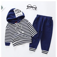 2018 autumn and winter boys clothing letters striped fashion trendy children's suit long sleeved trousers children's two piece