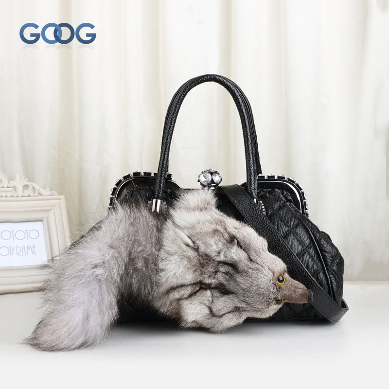 Europe and the United States winter new fur bag fox head tide diamond bag handbag fashionable shell-type handbags shoulder twill europe and the united states long sleeve hooded keep out the cold winter to keep warm and comfortable cotton coat