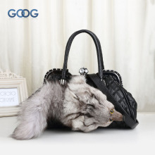 Europe and the United States winter new fur bag fox head tide diamond bag handbag fashionable shell-type handbags shoulder twill