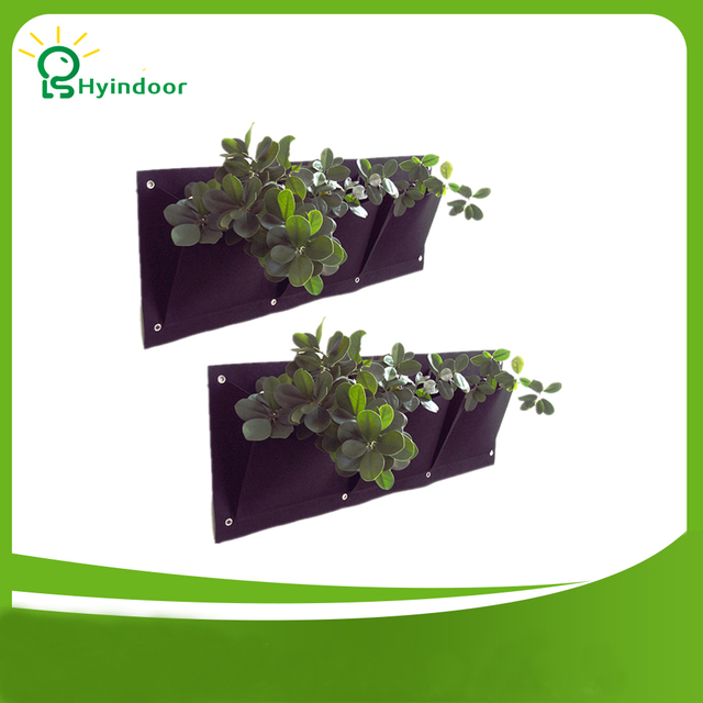 Garden Pots 3 Pockets Vertical Garden Pocket Planters Wall Mounted  Polyester Home Gardening Flower Planting Bags Indoor