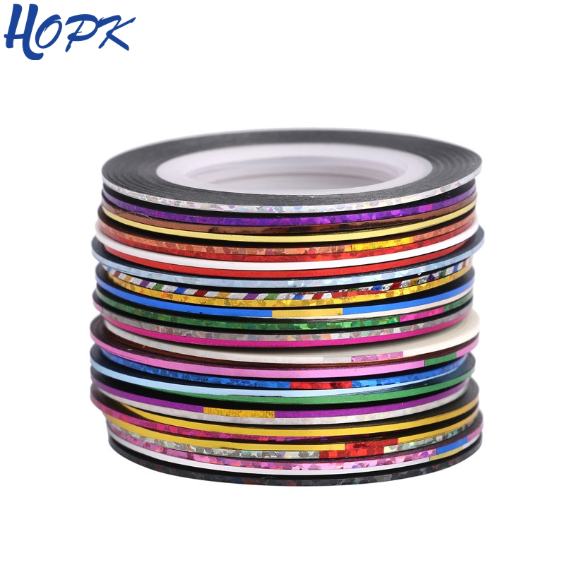 30 Pcs/ Set Laser 3D Striping Foil Washi Tape Set Line DIY Adhesive Tape Scrapbooking Nail Decoration Sticker Masking Tape