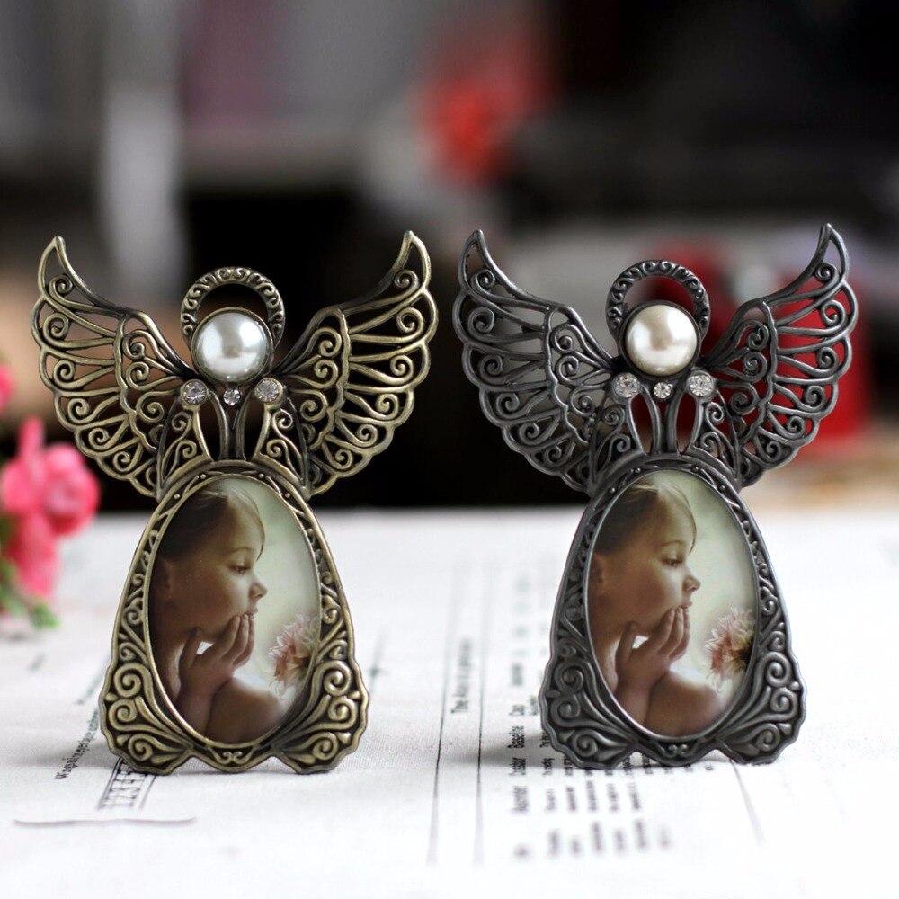 Metal vintage mini quadros de imagem linda anjo estilo clássico foto moldura para decoração de casa e presentes marco de fotos