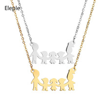Eleple Stainless Steel  Family Necklace Mom Dad Boys Girls Beautiful Cartoon Clavicle Chain Fashion Jewelry Supplier S-N624