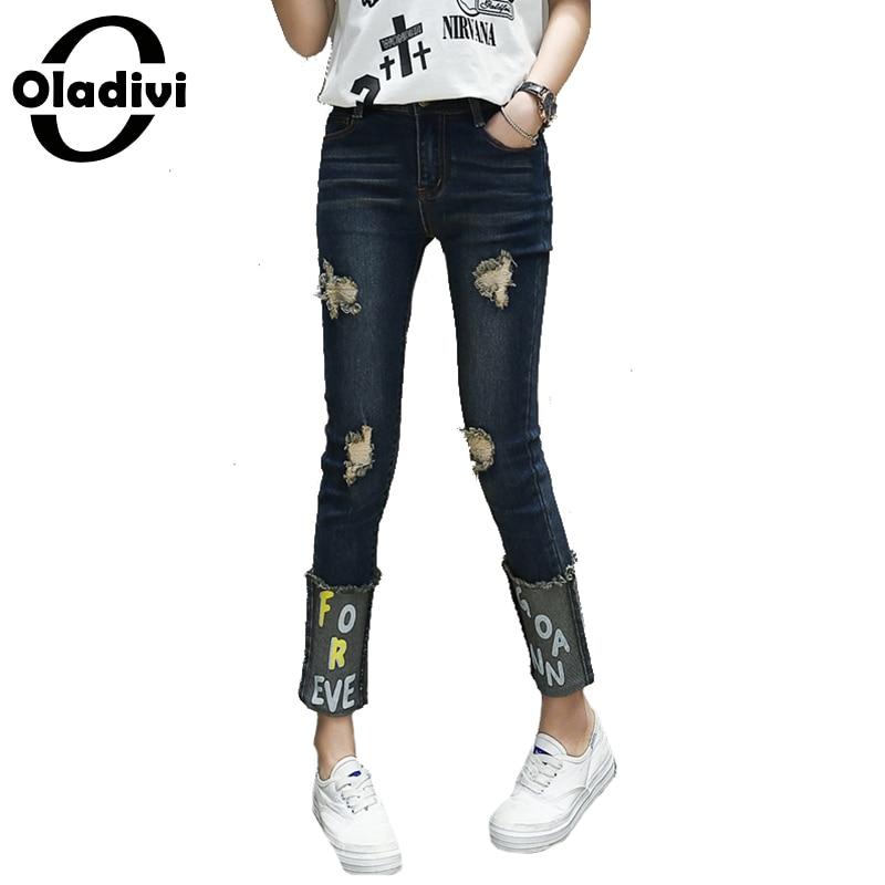 Oladivi Ripped Jeans Female Women Denim Pants Capris Fashion Letter Pring Ripped Hole Trousers Cropped Plus Size Clothing XXXXXL inc new knight gray straight leg women s size 8 capris cropped cargo pants $59