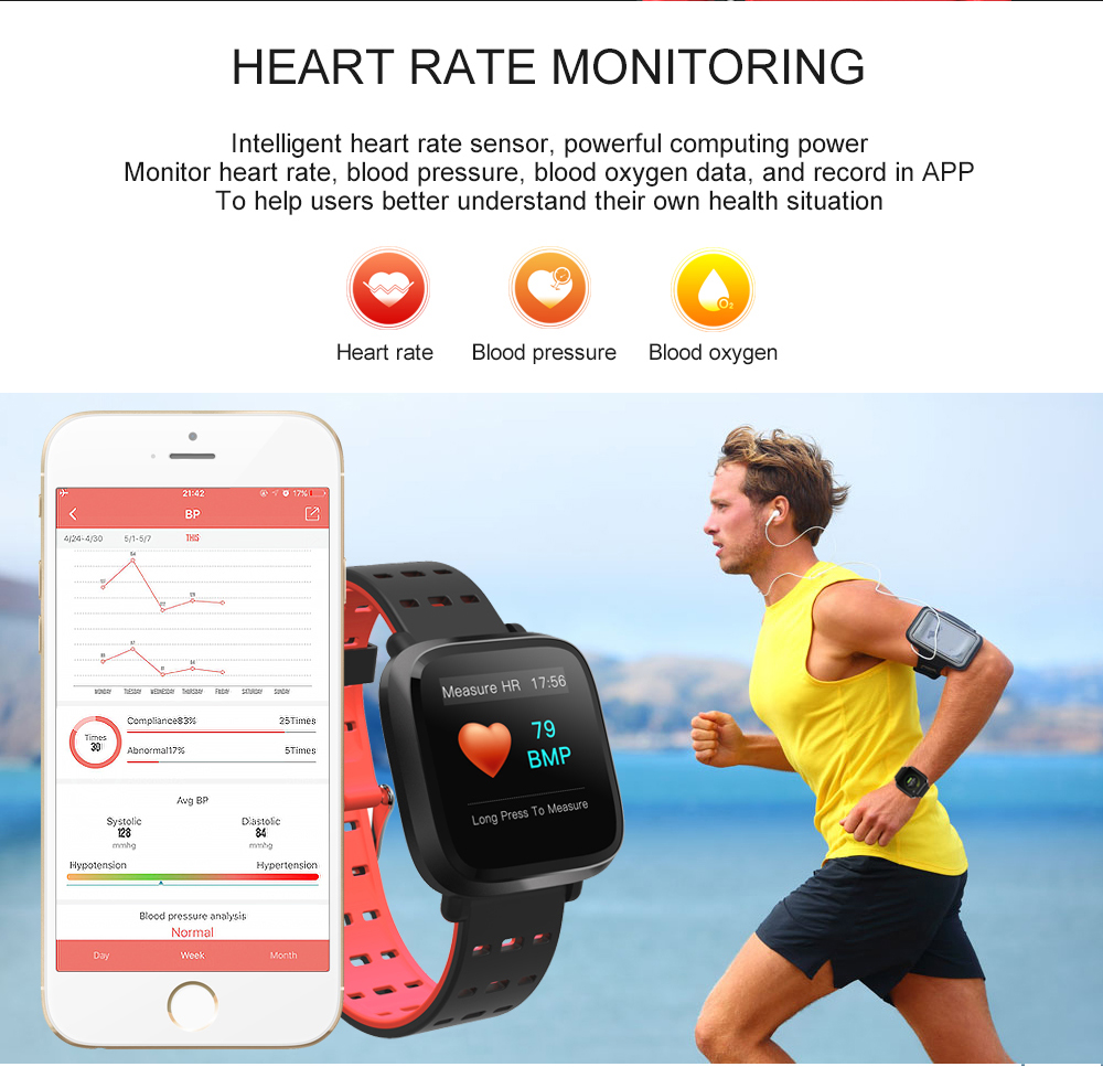 Y8 Smartwatch Wearable Device Bluetooth IP67 Waterproof Pedometer Heart Rate Monitor Color Display Smart Watch For AndroidIOS (7)