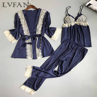 New Autumn Winter Women's Ice Polyester Silk Three Piece Sexy Sling Pajamas Nightgown Trousers High End Pajamas LVFAN Z005