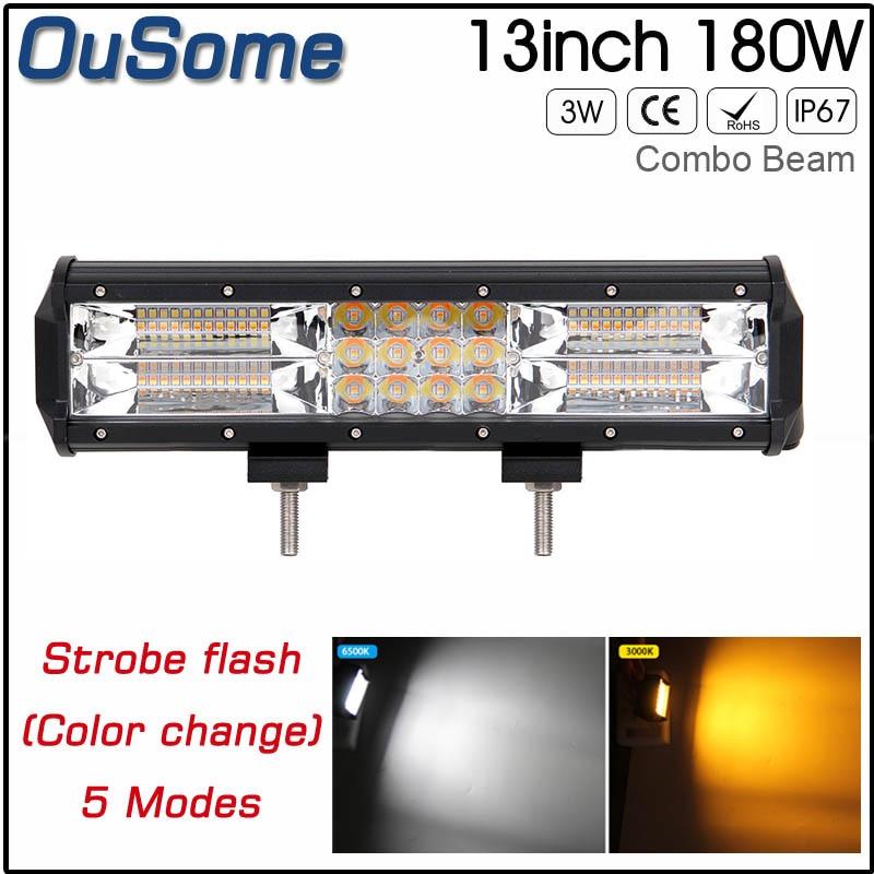 180W 13.5 inch Straight White Amber / Yellow Led Emergency Warning Traffic Advisor Vehicle 12v 24v Strobe LED Light Bar