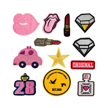 Lovely Pink Lip Tongue Diamond Car ORIGINAL Patches Iron On Or Sew Fabric Sticker For Clothes Badge Embroidered Appliques DIY