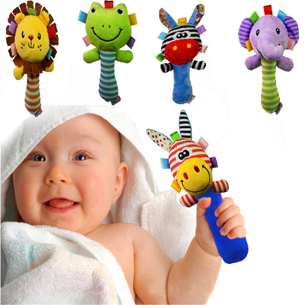 Drop Ship Baby Rattles Baby Toys Cute Cartoon Animal Hand Bell Rattle Soft Toddler Plush Mobiles Toys 0-12 Months