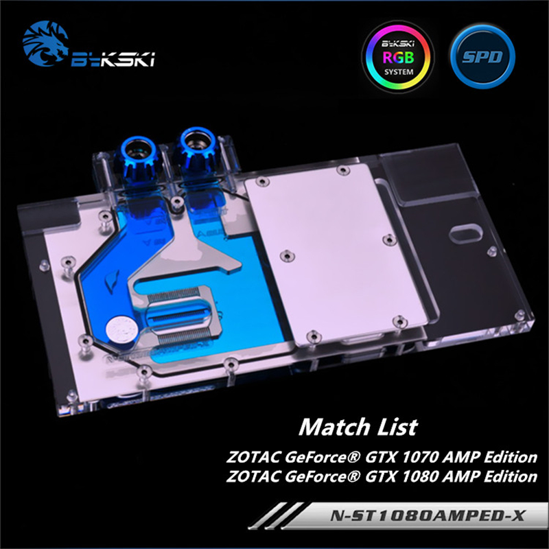 Bykski Full Cover GPU Water Block For ZOTAC Geforce GTX 1070 1080 AMP Edition Graphics Card Mobo AURA N-ST1080AMPED-XBykski Full Cover GPU Water Block For ZOTAC Geforce GTX 1070 1080 AMP Edition Graphics Card Mobo AURA N-ST1080AMPED-X