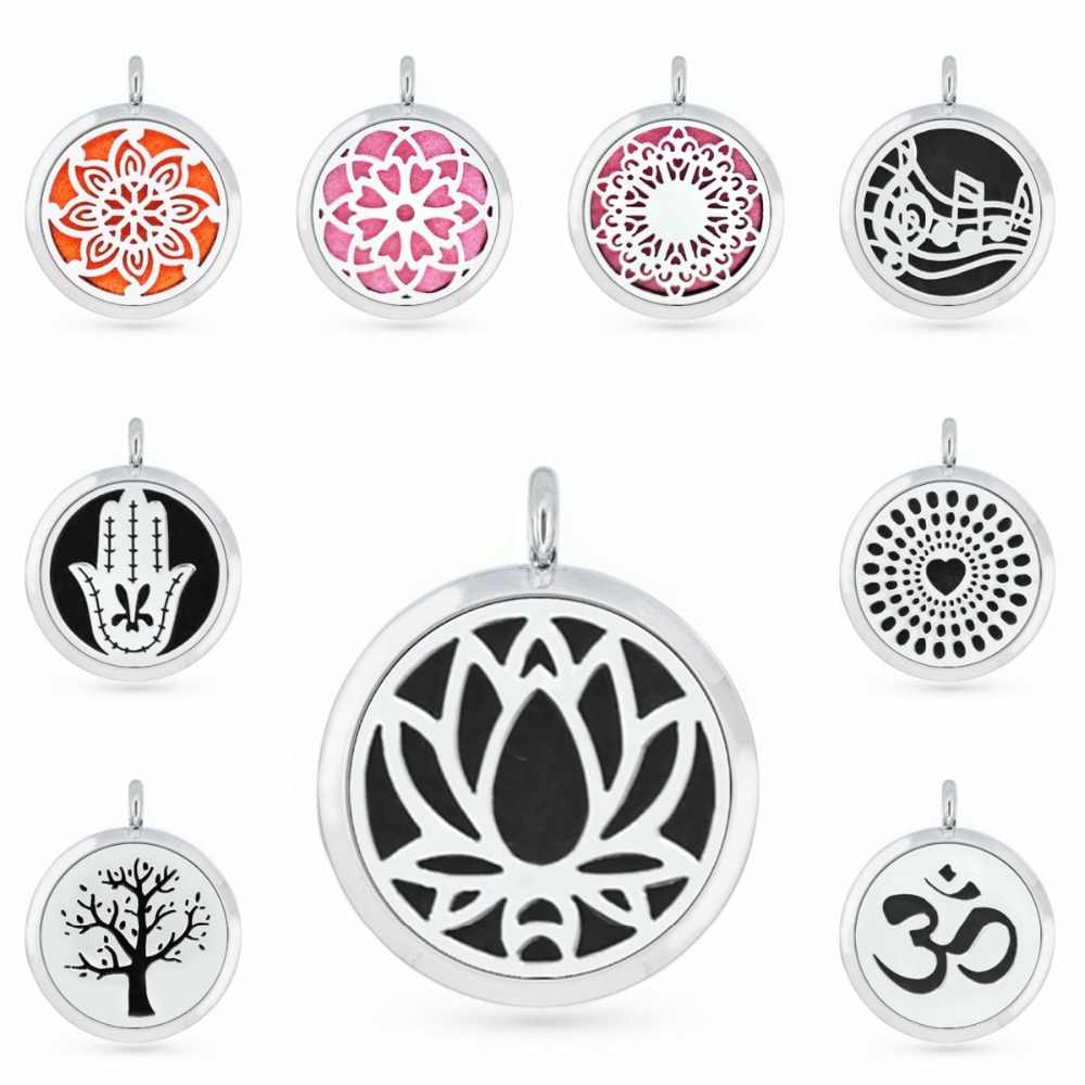 30mm Essential Oil Diffuser Necklace Pendant Locket Lotus Flower Tree of Life Aromatherapy Perfume Women Jewelry Gifts 5pcs pads