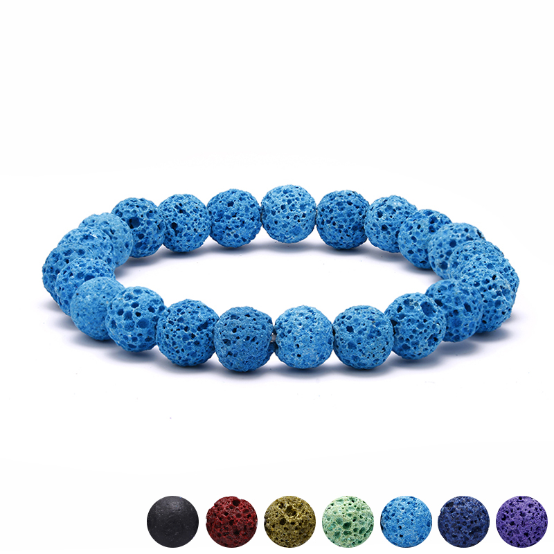Colorful Design Beaded Bracelet for Women Fashion 8MM Lava Stone Strand Bracelet Men Wristbands Jewelry 2018 Erkek Bileklik Gift