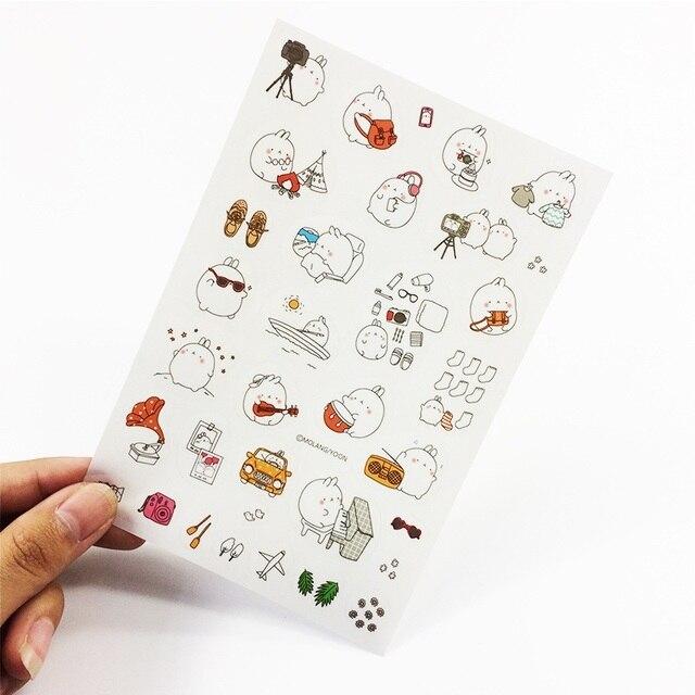 6 Pcs/lot Cartoon Potato Rabbit II Series Molang PVC Sticker Set Kawaii Label Diary Decoration Cute Stickers Notebook Decor