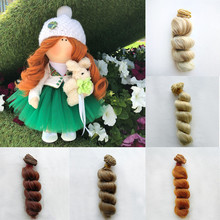 1pcs Hair Extensions Natural Color Roman Curly Wefts for BJD SD Blyth American Dolls DIY Doll Wigs High-temperature Wire
