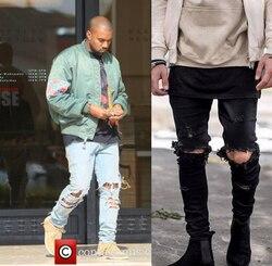Kanye West, обтягивающие рваные джинсы для мужчин, мужские черные мотоциклетные камуфляжные джинсы, джинсовые штаны, модные брендовые рваные ба...
