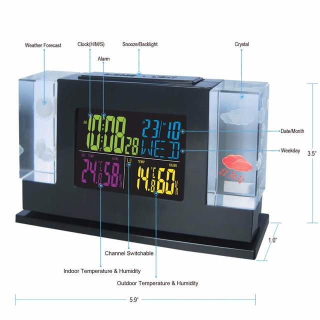 New Arrival Crystal LED Weather Station with Backlight Indoor Outdoor  Temperature Humidity Alarm Clock Free Shipping DYKIE