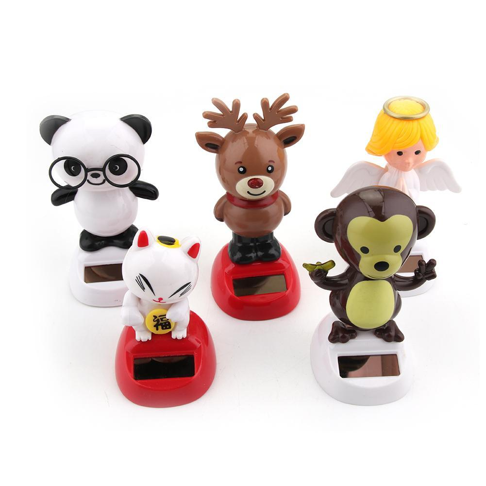 Adorable Novelty Solar Powered Toys Moving Flip Christmas Santa Claus Dancing Panda Home Desk Car Decor Xmas Toy Gifts For Kids