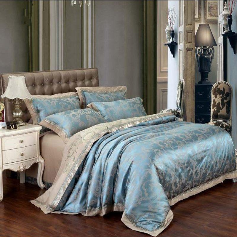 bule silkcotton jacquard bedding set queen king size 4pcs luxury bedclothes bed sheet satin