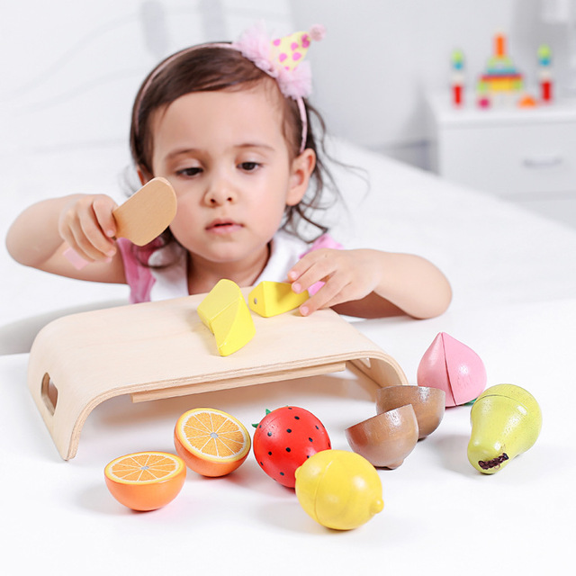 Children Wooden Food Magnetic Cutting Fruit and Vegetable Set Colorful Pretend Play Kitchen Toys Set For Kids