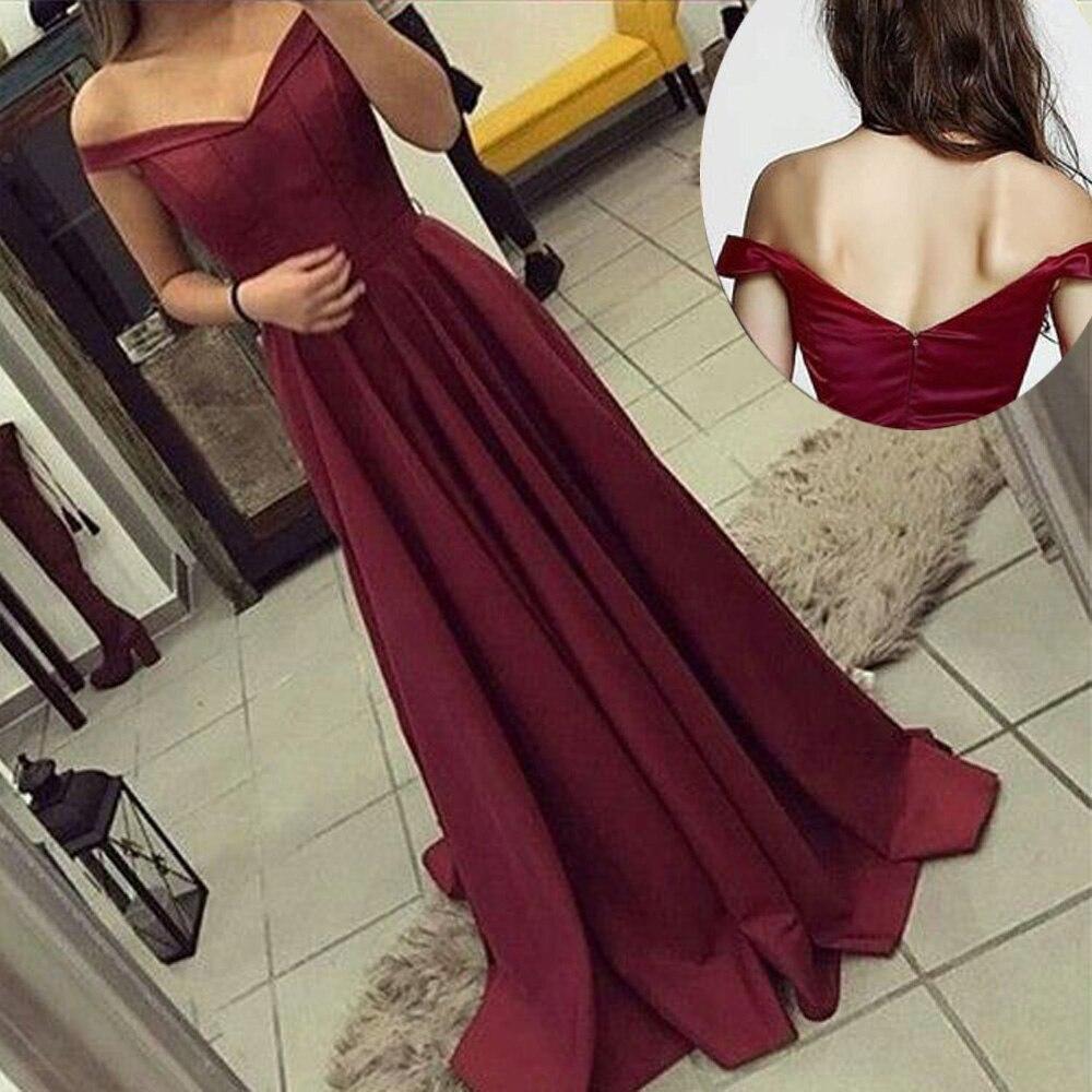 Élégant hors de l'épaule Satin Sexy longue robe de bal bleu Royal rouge v-cou robe de soirée robes de soirée 2019