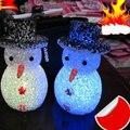 Xmas Christmas Crystal Luminous Snowman Colorful Night Light Gift Lamp