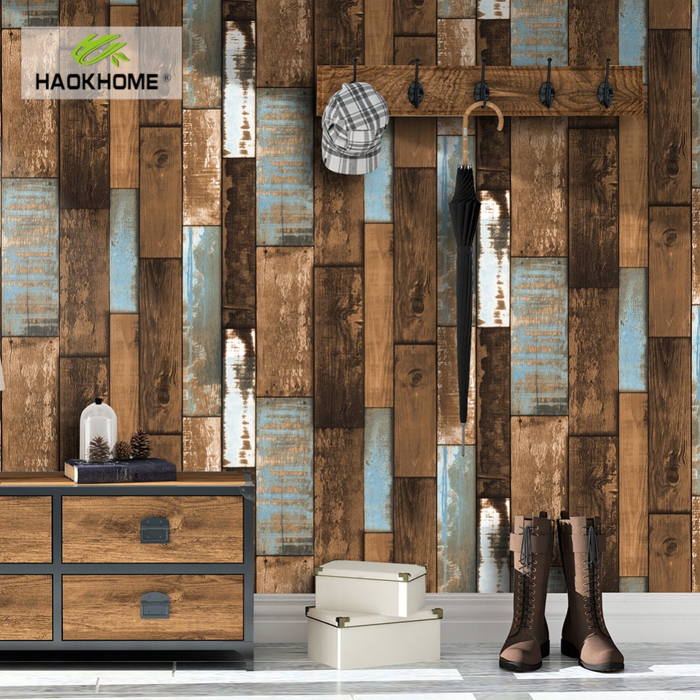 HaokHome 3d Vintage Faux Wood Plank Wallpaper Rolls Grey/Brown Wallpaper Murals Home Living Room Kitchen Bathroom Decor