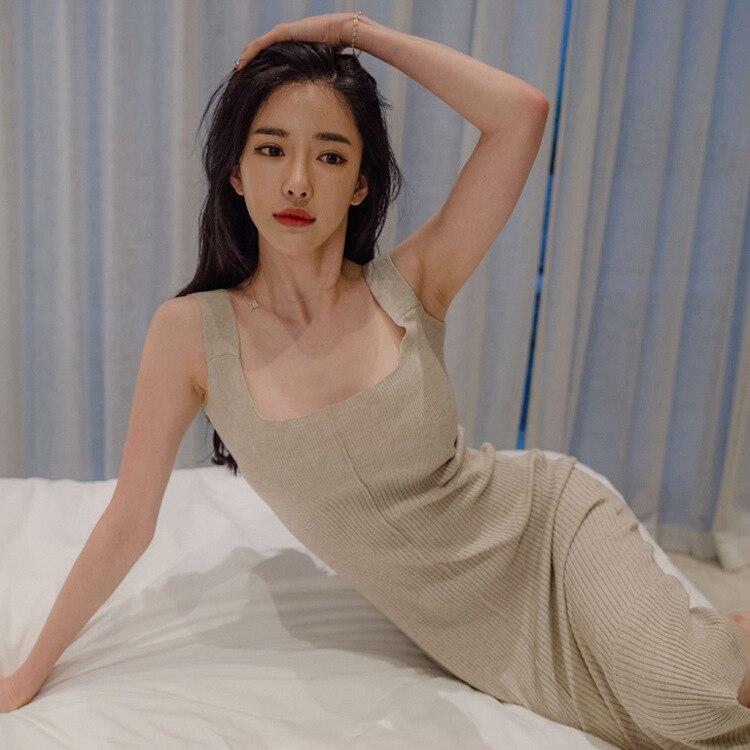 Robes Finewords Deux Longue Femmes Tricoté Moulante Beige Crayon Hiver Chandail Robe Office Style Sexy Pièces Automne Coréenne pink Lady FpOxFwHq
