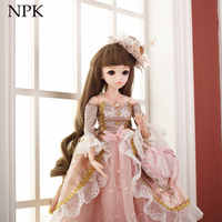 NPK 60cm BJD Dolls 1/3 Cute Princess SD Dolls with Dress Wigs Shoes Makeup Reborn Doll full set for kids gift