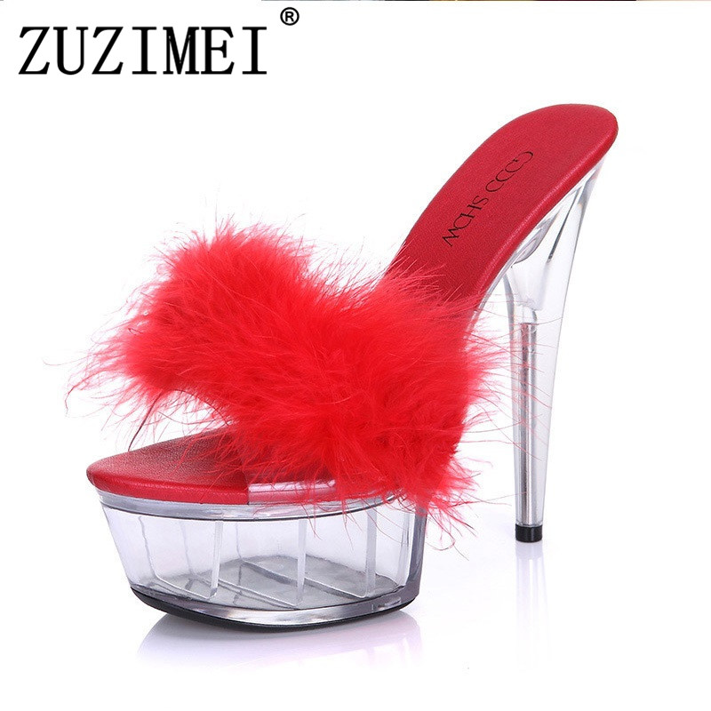 Hot! 2018 Summer Models Models Transparent Crystal 15cm Super High Heels Waterproof Sandals Female Fun Fur Slippers Large Yards 2017 han edition of the new fashion women s shoes big yards high heels crystal cool slippers 15cm