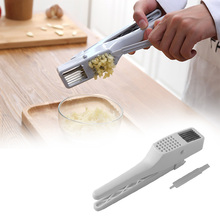 Multifunction Garlic Press & Slicer Tool Slicing and Grinding Plastic White/Gray Garlic Press Fruit and Vegetable Cooking Tools garlic and sapphires