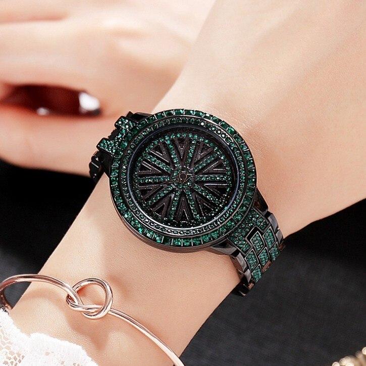 2017 Femmes chaudes En Acier Inoxydable Montre Dame Brillant Rotation Robe Montre Grand Diamant Pierre Montres Vert Montre Horloges Heures