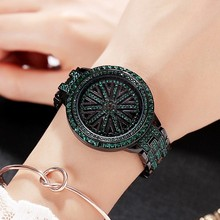 цена на 2019 Hot Women Stainless Steel Watch Lady Shining Rotation Dress Watch Big Diamond Stone Wristwatches Green Watch Clocks Hours